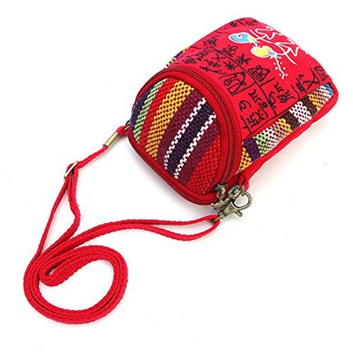Joseko Toile Femmes Sac De Bandoulière Red Multifonctionnel Vintage En 5 Téléphone Pouces À Toile 8 qwISH