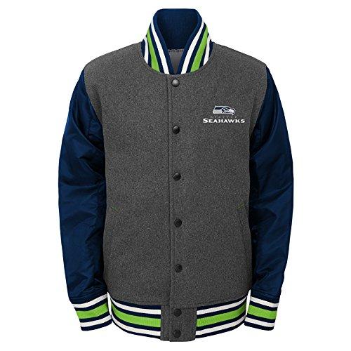Outerstuff NFL Big Boys' Letterman Varsity Jacket, Charcoal Grey, Youth Medium (10-12)]()
