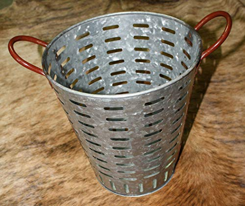 (Galvanized Rustic Antique Style Metal Olive Bucket Home Decor Harvest Basket 13'')