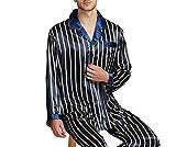 Mens Silk Satin Pajamas Set Pyjamas Set Sleepwear Loungewear,Navy Strip,S