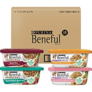 Purina Beneful Wet Dog Food Variety Pack, Prepared Meals & Chopped Blends - (16) 10 oz. Tubs