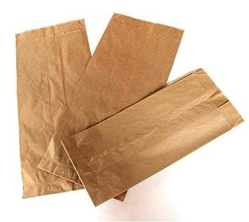 Bolsa de papel kraft marrón de comestibles, para comida y restaurantes, tiendas (850 bolsas/caja de 13 x 7 x 28 cm): Amazon.es: Hogar
