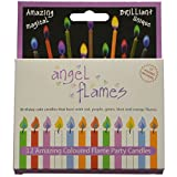 Angle Flames Birthday Candles with Colored Flames (12 per box)