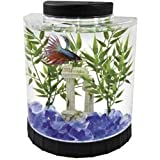 fish tanks starter kits - Tetra LED Half Moon Betta Aquarium, 4.6 x 9.1 x 9.9 Inches