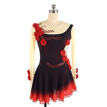 GZHGF Handmade Eiskunstlauf Kleid Für Frauen und Mädchen Kleine Rote ...