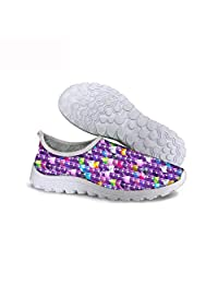 KiuLoam Glitter Sequin Purple Women's Athletic Mesh Breathable Sneakers Running Sports Shoes for Lady Girls Teens