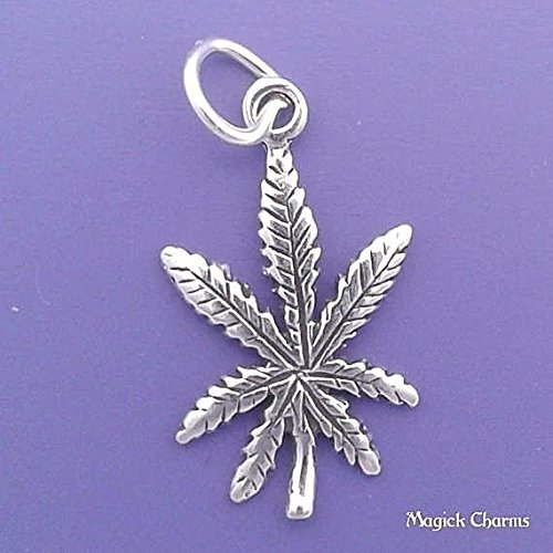 (925 Sterling Silver Marijuana Pot Leaf Cannabis Charm Pendant Jewelry Making Supply, Pendant, Charms, Bracelet, DIY Crafting by Wholesale Charms)