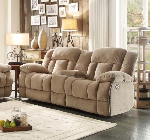 Cheap Homelegance 9636nf 2 Double Glider Reclining Loveseat With Center Console Taupe Fabric
