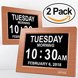 American Lifetime [Newest Version] Day Clock - Extra Large Impaired Vision Digital Clock with Battery Backup & 5 Alarm Options (Brown Wood Color - 2 Pack)