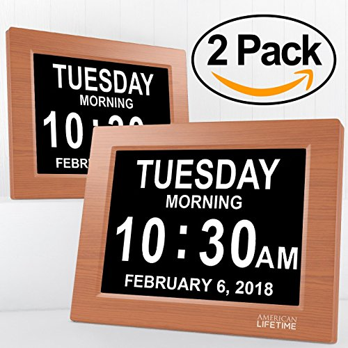American Lifetime [Newest Version] Day Clock - Extra Large Impaired Vision Digital Clock with Battery Backup & 5 Alarm Options (Brown Wood Color - 2 (Du Wood Clock)