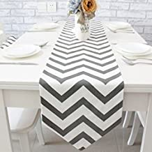 Ethomes classic grey and white chevron striped cotton fabric table runner approx 94 x 11 inch