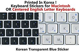 Korean Keyboard Stickers with Blue Lettering on Transparent Background for Mac / Centered Windows Keyboard