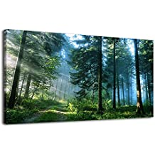 arteWOODS Canvas Wall Art Prints Nature Painting Modern Large Panoramic Canvas Artwork Contemporary Pictures Green Trees Roads Sunrise Forest Landscape for Kitchen Office Home Decoration