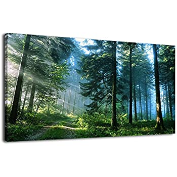 arteWOODS Canvas Wall Art Forest Morning Pictures Modern Large Nature Canvas Art Contemporary Green Big Trees Road Sunrise Foggy Woods Landscape for Kitchen Office Home Decoration 24