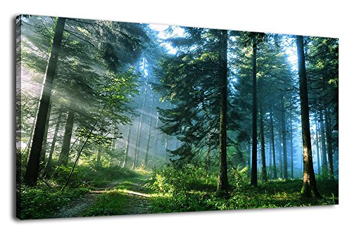 (Green Forest Canvas Wall Art Living Room Wall Decor Long Nature Painting Large Canvas Artwork Contemporary Pictures Modern Landscape Green Trees Roads Sunrise Woods for Kitchen Office Home)