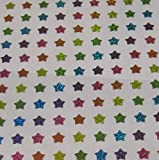 "Custom & Decorative {.5"" X .5"" Inch} 144 Piece Pack of Mid-Size Stickers for Arts, Crafts & Scrapbooking w/ Cute Colorful Rainbow Shiney Sparkly Stars {Pink, Yellow, Orange, Green, & Purple}"