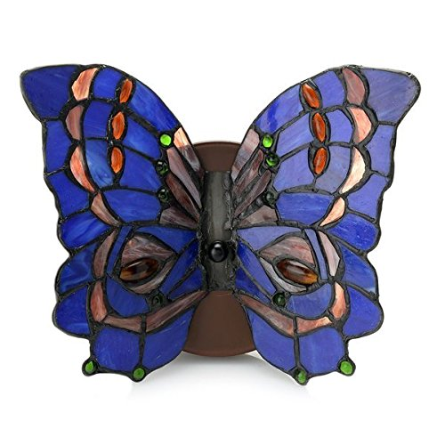 - Sconces/ Tiffany Lighting Style Dindy Blue, Green, Pink, and Red Glass 8-inch 2-light Tiffany-Style Stained Glass Butterfly Wall Lamp 2533#. 9 in Diameter x 8 in High
