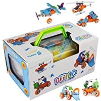 PBOX PBOX -132Pcs, 5-in-1 DIY Creative Stacking Toys, Stem Learning Models Transform Car Airplane Building Kits, Educational Construction Engineering Toy 5+ Year Boys&Girls