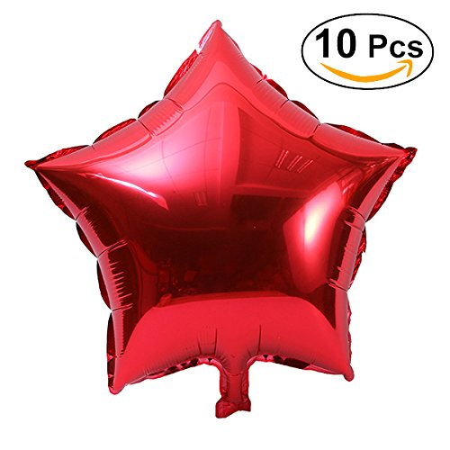 NUOLUX 10pcs 18 inch Foil Balloon Party Five-Point Star Mylar Balloons for Valentins Day Wedding Birthday Party Decoration (Red)