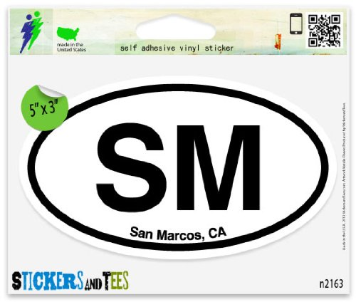 SM San Marcos CA California Oval Car Sticker Indoor Outdoor 5
