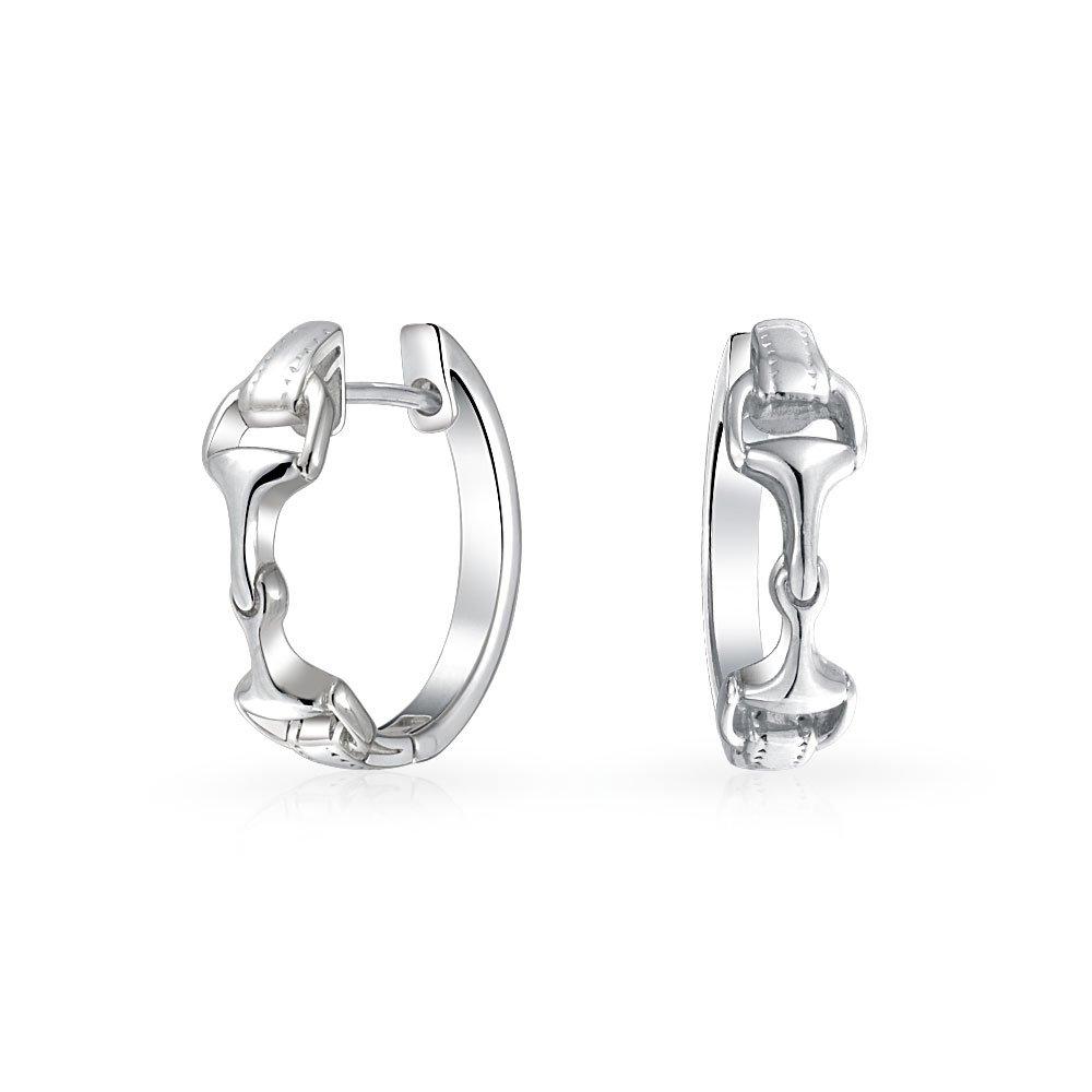 Bling Jewelry Double Horsebit Equestrian Sterling Silver Hoop Earrings PMR-H10332