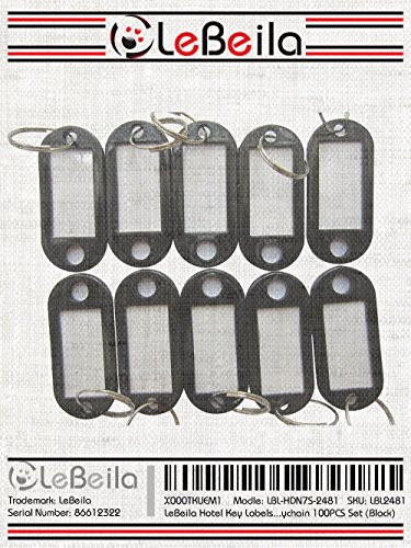 Hotel Key Labels Tags - Key Id Identifiers Label Tags for Key Organizer with Split Ring Keyring Keychain 100PCS Set (Black) Photo #6