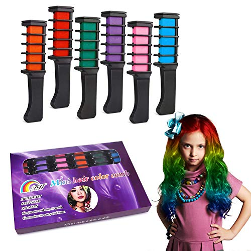 Temporary Hair Color Chalk Combs Kit for Girls Hair Salon Games, Birthday Party,Cosplay and Halloween Hair Dyeing - Pretty Gifts for Kids -