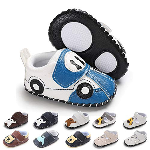 BEBARFER Baby Boys Girls Shoes Cartoon Crawling Slippers Soft Moccasins Toddler Infant Crib Pre-Walkers First Walkers Shoes Sneakers (6-12 Months M US Infant, E-Blue car)