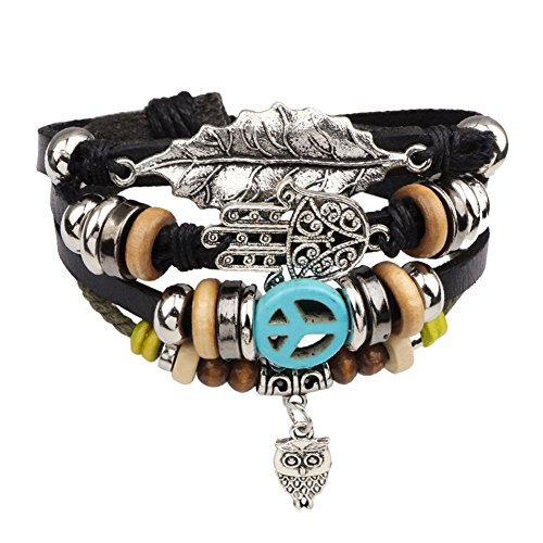 Diamondo Unisex Men Women European Fashion Handmade Alloy Bead Multi Bracelet ()