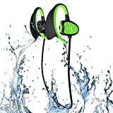 Waterproof Sports Bluetooth Wireless Headset Headphones Earphone for Swimming iPhone Android Phones and other Cellphones Super Fashion New Style Shark BH802 (Green)
