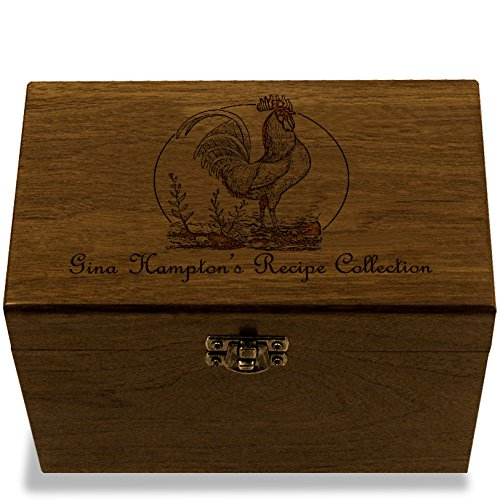 Cookbook People Rooster Personalized Walnut Recipe Box 4x6 Made in USA (Recipe Rooster Box)