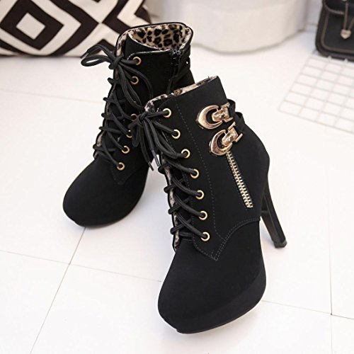 MML Women Sexy Artificial Leather High Heels Boots ,Platform Ankle Boots Thin Heel Lace-Up Boots Shoes Black