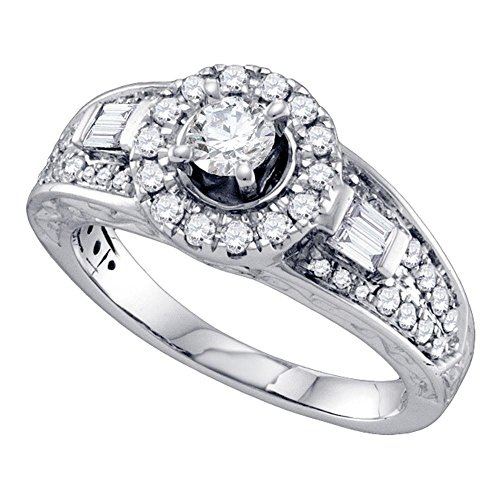 (14k White Gold Round Diamond Solitaire Halo Engagement Ring Bridal Band Baguette Side Stones 1 ctw Size 7)