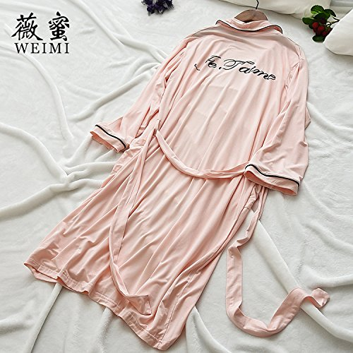 Coreano Ropa Nueva Home Furnishing Simple Ocio Moda Pijama Dama Modal Manga,Carta Negro,F Carta de rosa