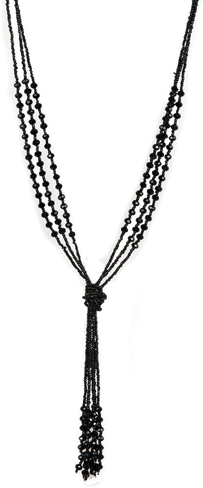 Collar Estilo Vintage Color Negro, Largo, múltiples cadenas con cuentas, para Mujer (largo: 78 cm)