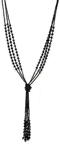Collar Estilo Vintage Color Negro, Largo, múltiples cadenas con cuentas, para Mujer