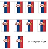 30' Serbia String Flag Party Bunting Has 30 Serbian 6''x9'' Polyester Banner Flags Attached, Popular For School Classroom, Special Events, Bars, Restaurants, Country Theme Parties