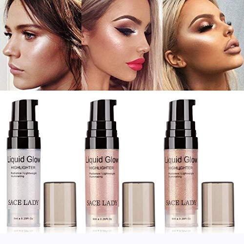 Lady Lighweight Sheer Highlighter Radiant Illuminator Glow Makeup Shimmer Facial Bronzer Contour Cosmetic(6ml/0.20Fl Oz) (03# PEACH CHAMPAGNE)