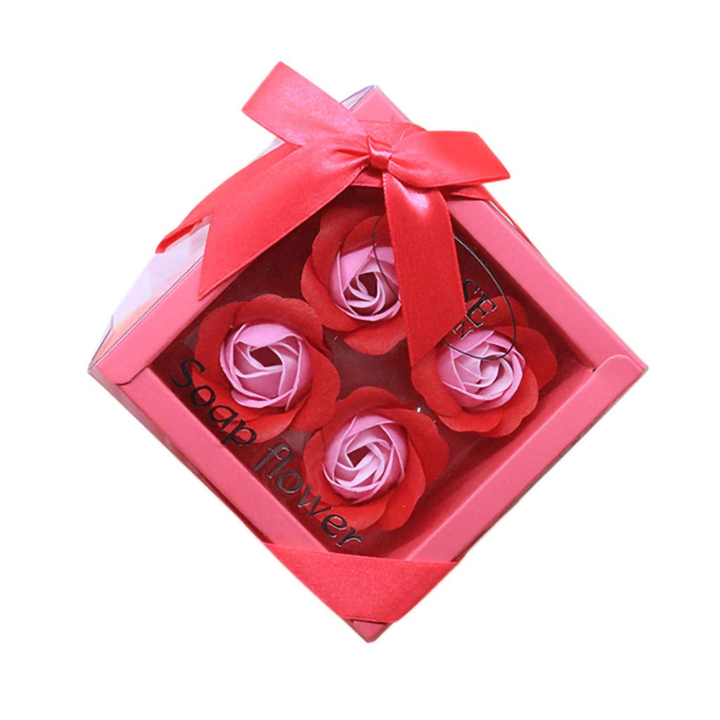Lovewe 4pc Fower Petal Soap - Scented Bath Body Petal Rose Flower Soap For Valentine's Day Gift (E)
