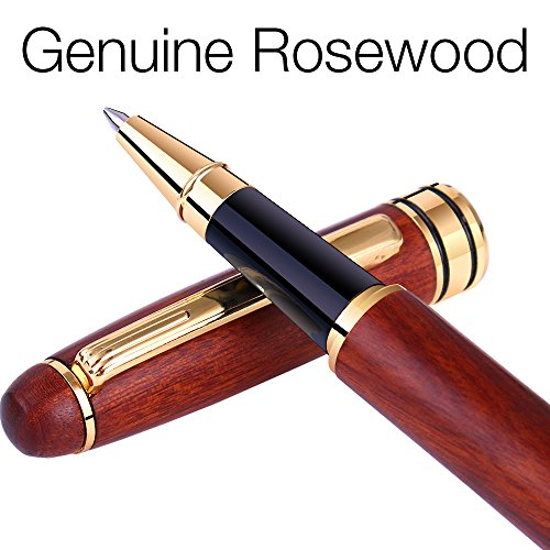 Unibene Luxury Genuine Rosewood Gel Ink Roller Ball Pens, Fancy Nice Pens with Elegant Box for Business Executive Signature Graduation Journal, Nice Wooden Writing Set with Extra Premium Refill ()