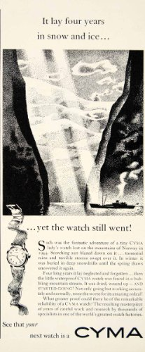 1950-ad-cyma-watch-fashion-accessory-norway-mountains-ship-snow-ice-clock-ocean-original-print-ad