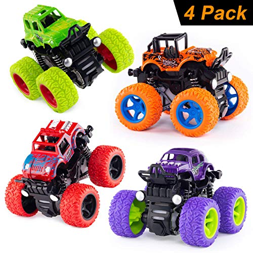 Monster Trucks Toys Car Vehicles - Push and Go Truck Playset Friction Powered Car Toys Inertia Vehicle Cars for Toddlers Kids Birthday Christmas Party Supplies Gift for Boys and Girls (4 Color)