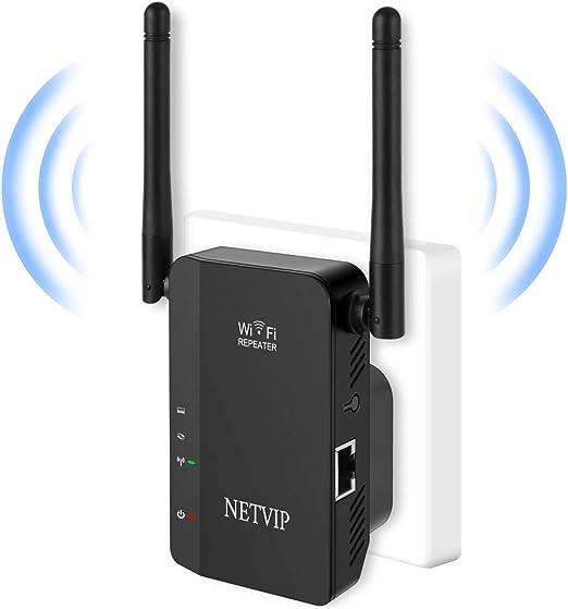 NETVIP WiFi Repetidor Red WiFi Amplificador 300Mbps/2.4GHz,Señal WiFi Extensor con Puerto Ethernet,Fácil de configurar Compatible con Enrutador ...