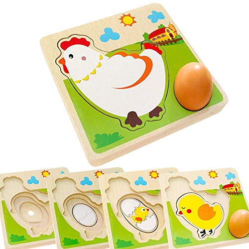TKmom Wooden Layered Puzzle Chick Growth, Farm Animal Puzzle, Safariology Life of a Chick, Montessori Early Educational Toy for Toddler Xmas Birthday Gift