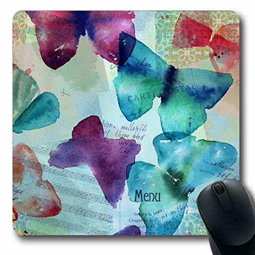 Ahawoso Mousepads Nature Blue Carte Abstract Freehand Watercolour Butterflies Post Ephemera Purple Clipping Collage Oblong Shape 7.9 x 9.5 Inches Non-Slip Gaming Mouse Pad Rubber Oblong Mat