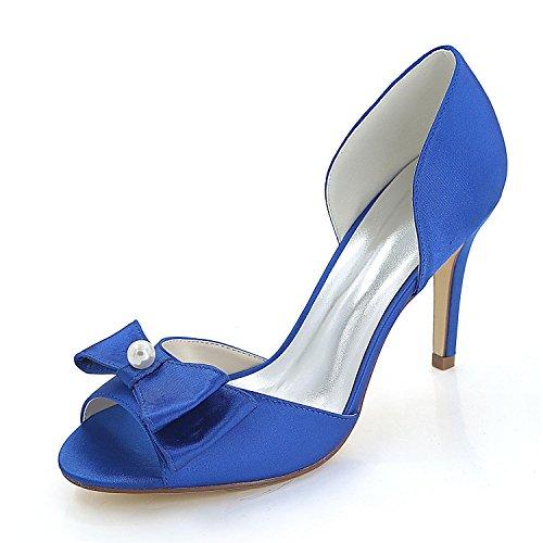Femmes Fête yc Eté De Automne Soie Blue Et Fine L Soirée Printemps Talons Mariage Sandales 5B0wCqqx