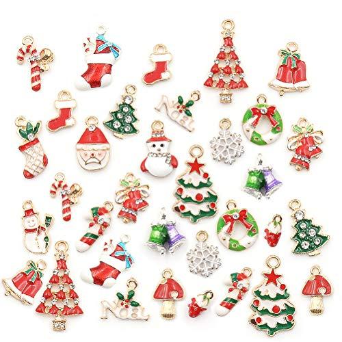 CoscosX 38Pcs Christmas Charms Pendants Metal Christmas Miniature Ornaments DIY Christmas Ornaments Pendants Xmas Charm Pendant Key Chains Bags Ornament for Bracelet Necklace Making Xmas ()