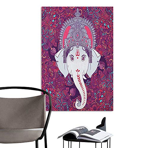 (Brandosn Retro Poster Decorative Painting Asian Face of Elephant Lord in The Centre of Coloring Mandala Flowers Garden Pattern Art Pink Purple Lady Room Wall W8 x)