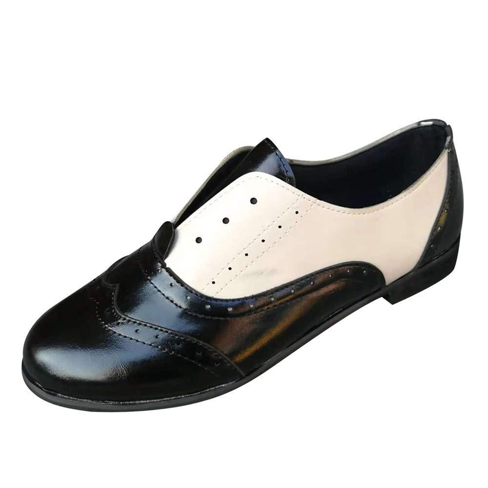 Luckhome Frauen runde Kappe Flache Schuhe Leder Booties Slip-On Square Heel Single Schuhe, Damen Schuhe Schuhe Damen Schuhe Damen Sommer Damen Schuhe Sommer