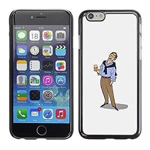 """For Apple Iphone 6 Plus / 6S Plus ( 5.5 ) Case , Hombre de la cerveza Arte Dibujo vacaciones relajadas"""" - Diseño Patrón Teléfono Caso Cubierta Case Bumper Duro Protección Case Cover Funda"""